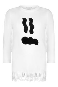Stella McCartney Kids Girls Ivory Ghost Face Fleece Dress