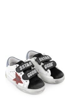 Kids White Leather & Red Suede Star Old School Trainers