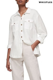 Whistles White Linen Overshirt