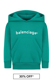 Balenciaga Kids Kids Turquoise Cotton Hoody