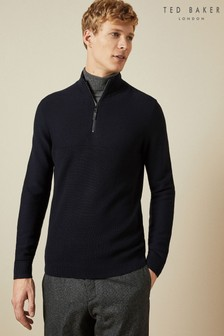Ted Baker Blue Newport Half Zip Funnel Neck Jumper