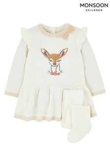 Monsoon Children White New Born Baby Knit Dress & Tights