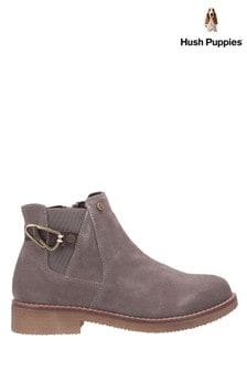 Hush Puppies Grey Alaska Flat Slip-On Chelsea Boots