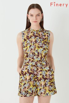 Finery London Yellow Violet Londonower Tree Print Playsuit