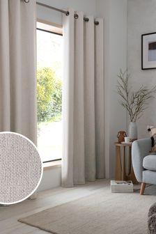 Natural Soft Marl Eyelet Lined Curtains