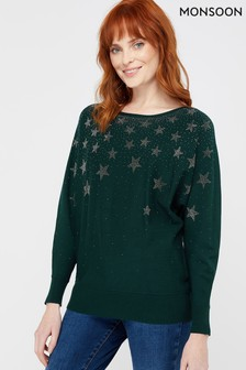 Monsoon Green Star Jumper