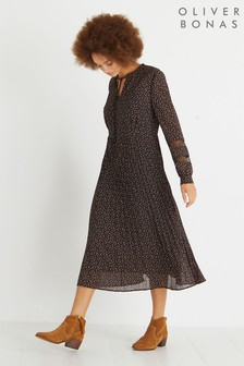 Oliver Bonas Moon & Stars Print Midi Dress