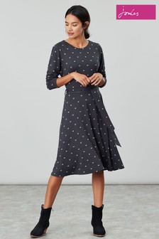 Joules Grey Monica Long Sleeve Jersey Dress