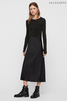 AllSaints Black Sparkle Kowlo 2 In 1 Satin Jumper Dress
