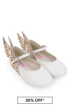 Sophia Webster Girls White & Rose Gold Leather Evangeline Shoes