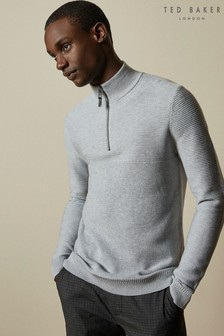 Ted Baker Natural Newport Half Zip Funnel Neck Jumper