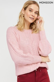 Monsoon Pink Carly Cable Jumper