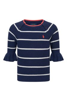 Ralph Lauren Kids Girls Navy Striped Cotton Sweater