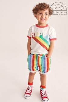Little Bird Unisex Rainbow Stripe Shorts