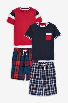 2 Pack Check Short Pyjamas (3-16yrs)