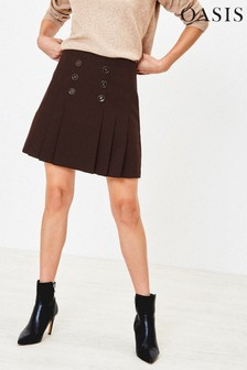 Oasis Brown Button Kilt Skirt