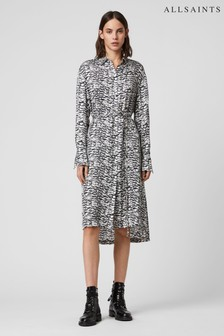 AllSaints White Anya Print Midi Shirt Dress