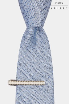 Moss London Blue Soft Handle Semi Plain Tie With Clip
