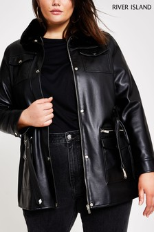 River Island Black PU Army Overshirt Jacket