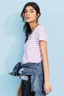 Stripe Rose Graphic T-Shirt