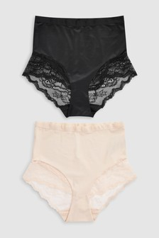 Shaping Lace Back Bikini Knickers Two Pack
