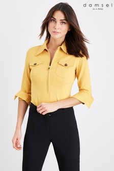 Damsel In A Dress Yellow Kadie Trench Ponte Top