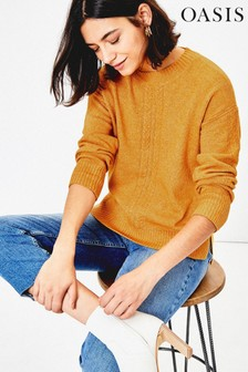 Oasis Yellow Caddie Cable Knit Jumper