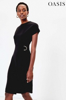 Oasis Black D Ring Belt Wiggle Dress