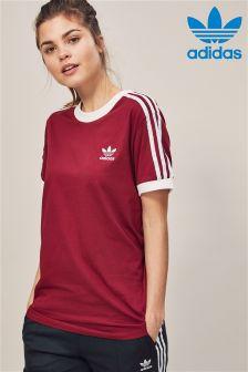 تي شيرت عنابي 3 أشرطة من Adidas