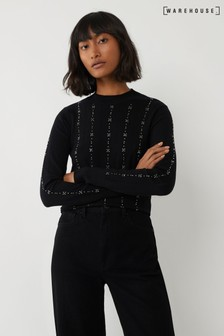 Warehouse Black Stitch Diamanté Jumper