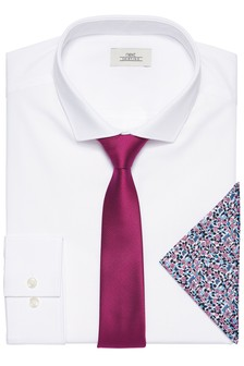 Shirt With Pink Tie And Pocket Square Set