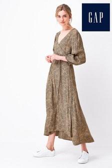 Gap Tie Waist Wrap Midi Dress