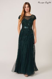 Phase Eight Green Renee Beaded Tulle Dress