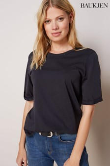 Baukjen Baukjen T-Shirt mit gerollten Ärmeln, Schwarz