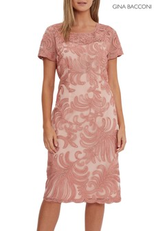 Gina Bacconi Pink Loreena Embroidered Dress