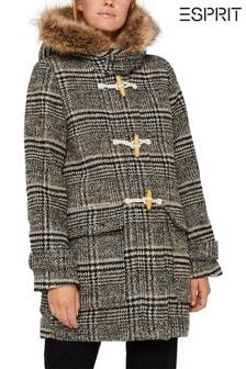 Esprit Grey Checked Duffle Coat