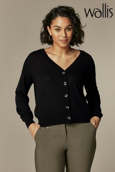 Wallis Girlfriend Black Button Through Cardigan