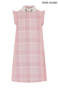 River Island Pink Check Collar Dress