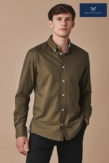 Crew Clothing Khaki Long Sleeve Slim Oxford Shirt