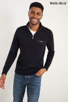 White Stuff Navy Briar Zip Neck Jumper