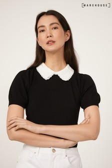 Warehouse Black Lace Collar Short Sleeve Top