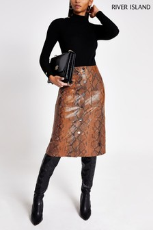 River Island Tan Snake PU Midi Skirt