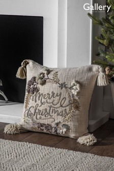 Gallery Direct Natural Merry Christmas Wreath Cushion