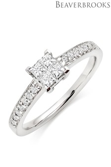 Beaverbrooks 9ct White Gold Diamond Cluster Ring