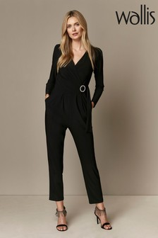 Wallis Black Diamanté Loop Jumpsuit