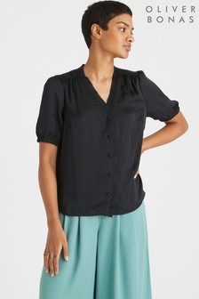 Oliver Bonas Black Satin Ruffle Short Sleeve Blouse