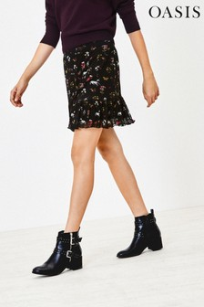 Oasis Black Mesh Millie Flippy Skirt