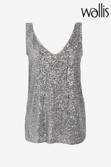Wallis Grey Sequin Cami Top