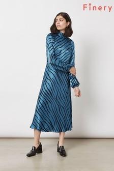 Finery London Blue Marianne Freehand Stripe Dress