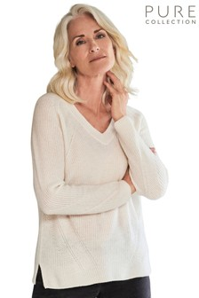 Pure Collection White Organic Ribbed V-Neck Sweater